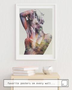 La photo montre un exemple d'ameublement avec le motif WILDERNESS HEART I par Andreas Lie comme peinture murale