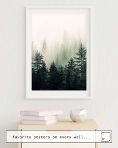 The photo shows an example of furnishing with the motif FOGGY PINE TREES by Andreas12 as mural
