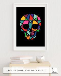 Das Bild zeigt ein Einrichtungsbeispiel mit dem Motiv FAITH von Andy Westface als Wandbild