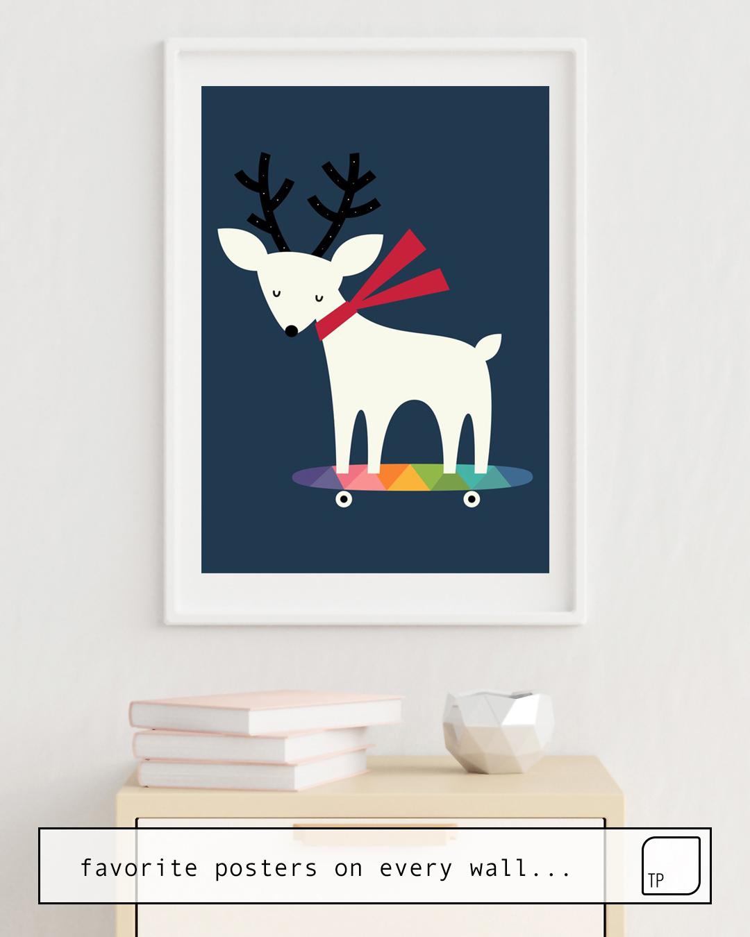 Das Bild zeigt ein Einrichtungsbeispiel mit dem Motiv FESTIVAL WALK von Andy Westface als Wandbild