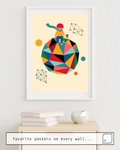Das Bild zeigt ein Einrichtungsbeispiel mit dem Motiv LONELY PLANET von Andy Westface als Wandbild