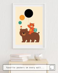 Das Bild zeigt ein Einrichtungsbeispiel mit dem Motiv MY LITTLE EXPLORER von Andy Westface als Wandbild