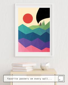 Das Bild zeigt ein Einrichtungsbeispiel mit dem Motiv OVER THE RAINBOW von Andy Westface als Wandbild