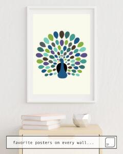 Das Bild zeigt ein Einrichtungsbeispiel mit dem Motiv PEACOCK TIME von Andy Westface als Wandbild