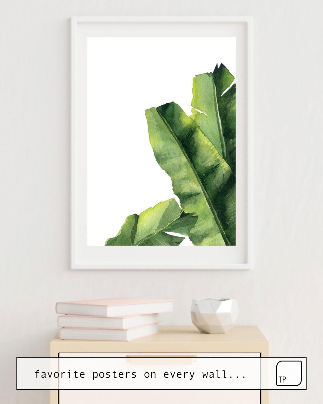La foto muestra un ejemplo de decoración con el motivo BANANA LEAVES. por Art by ASolo como un mural