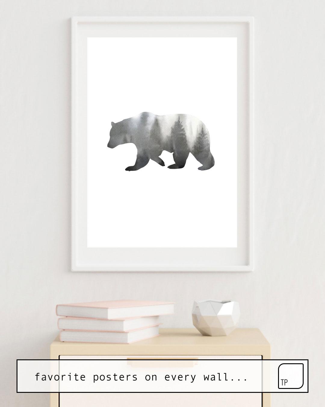 La foto muestra un ejemplo de decoración con el motivo BEAR por Art by ASolo como un mural