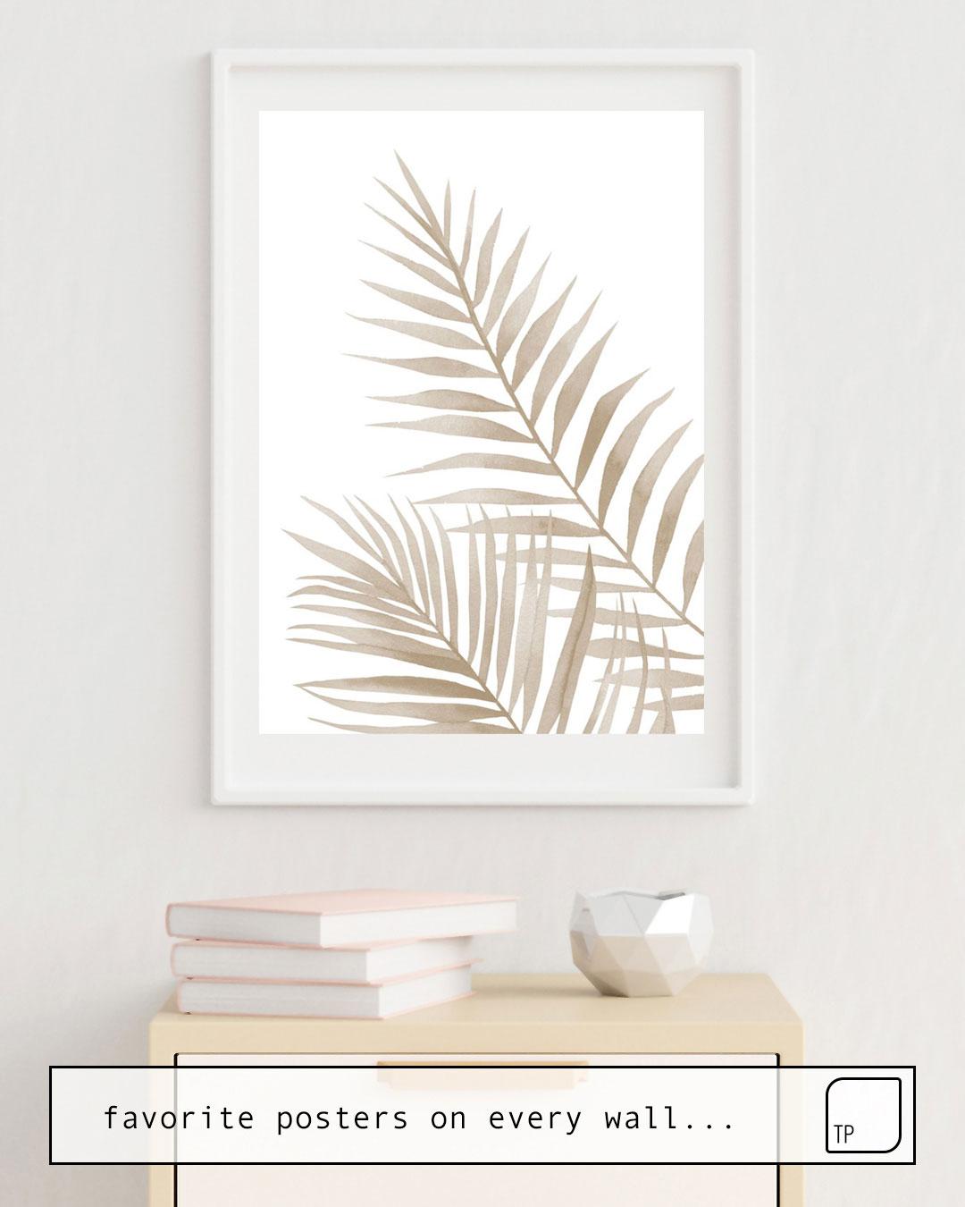 Das Bild zeigt ein Einrichtungsbeispiel mit dem Motiv BEIGE LEAVES von Art by ASolo als Wandbild