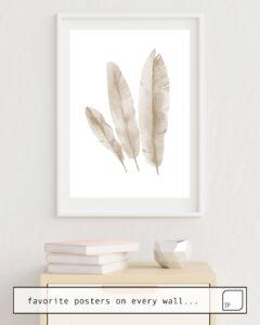 Das Bild zeigt ein Einrichtungsbeispiel mit dem Motiv BEIGE TROPICAL LEAVES von Art by ASolo als Wandbild