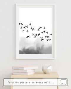 Das Bild zeigt ein Einrichtungsbeispiel mit dem Motiv BIRD FLOCK von Art by ASolo als Wandbild
