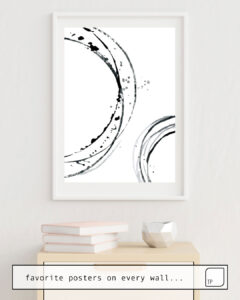 Das Bild zeigt ein Einrichtungsbeispiel mit dem Motiv BLACK ABSTRACT LINES. von Art by ASolo als Wandbild