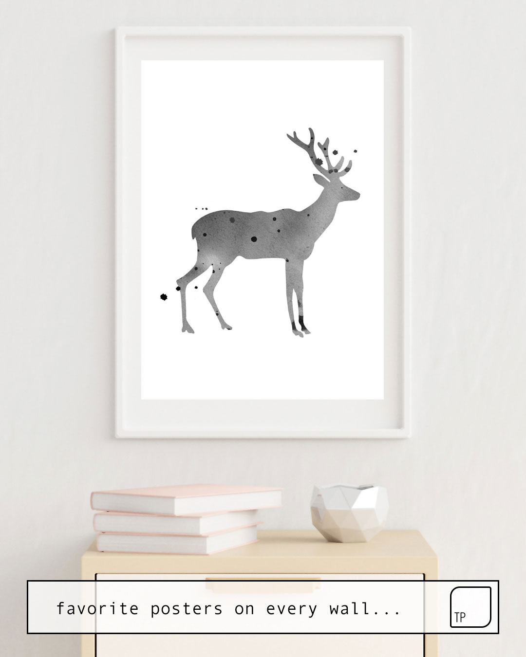 The photo shows an example of furnishing with the motif DEER. WATERCOLOR ILLUSTRATION ON WHITE. by Art by ASolo as mural