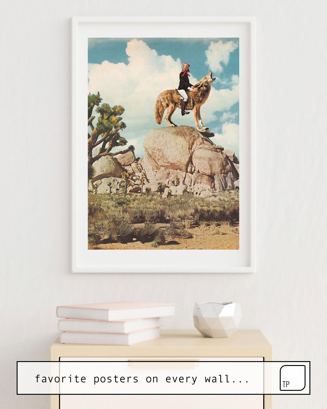Das Bild zeigt ein Einrichtungsbeispiel mit dem Motiv COYOTE von Beth Hoeckel als Wandbild
