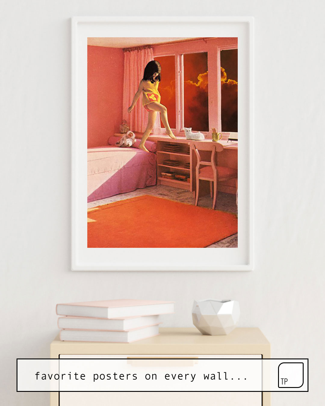 The photo shows an example of furnishing with the motif HOT LAVA by Beth Hoeckel as mural