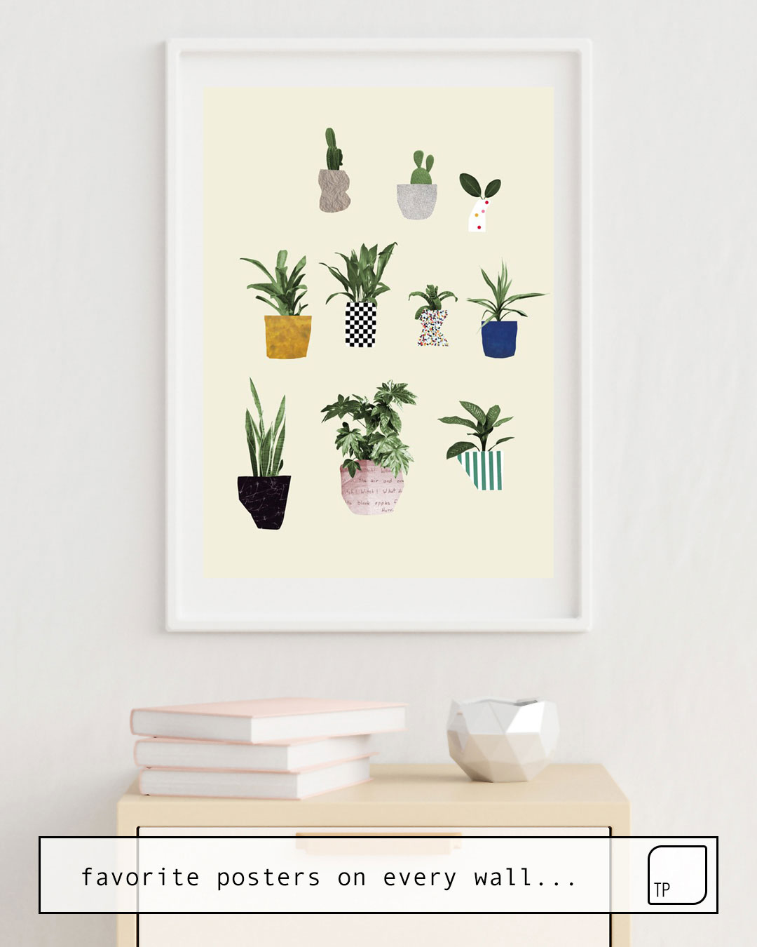 The photo shows an example of furnishing with the motif HOUSE PLANTS by Beth Hoeckel as mural