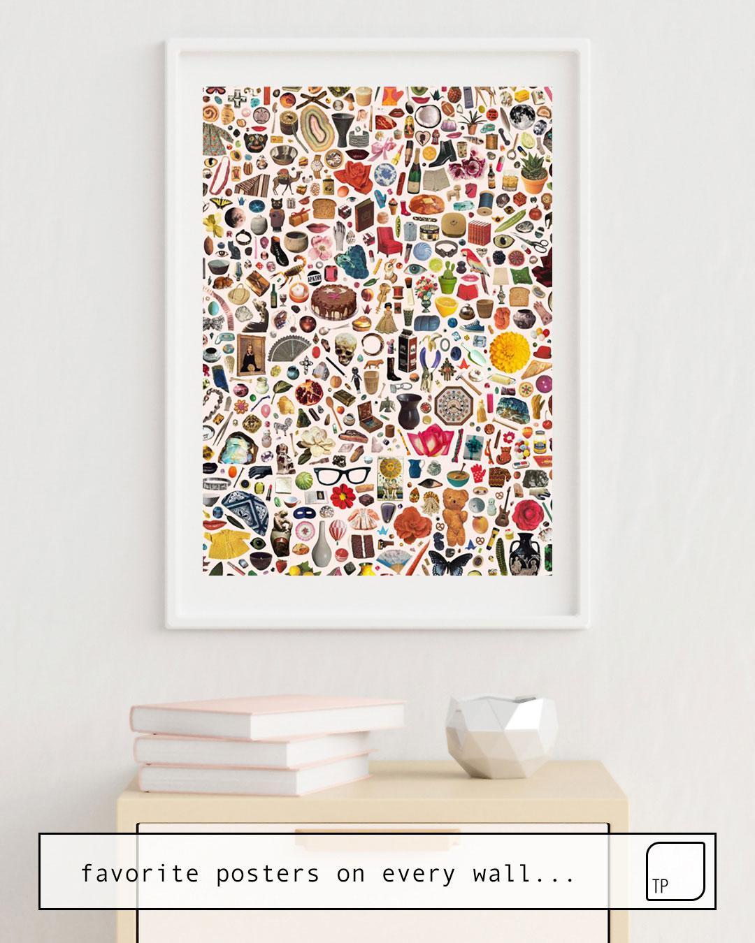Das Bild zeigt ein Einrichtungsbeispiel mit dem Motiv INDEX von Beth Hoeckel als Wandbild
