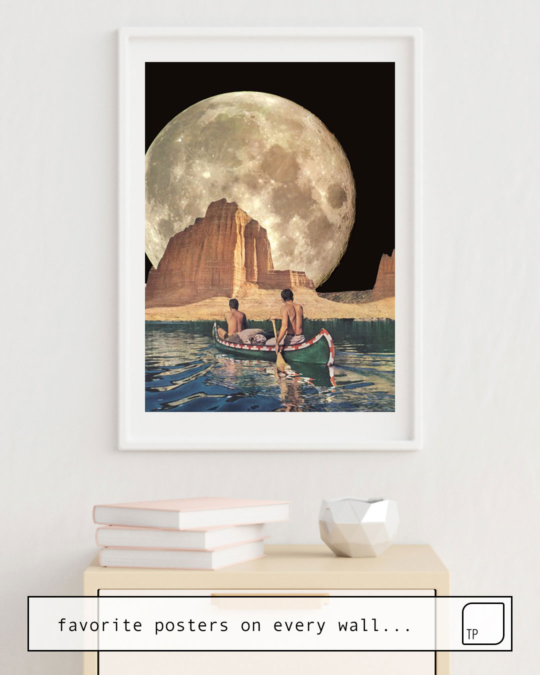 The photo shows an example of furnishing with the motif MOON RIVER by Beth Hoeckel as mural