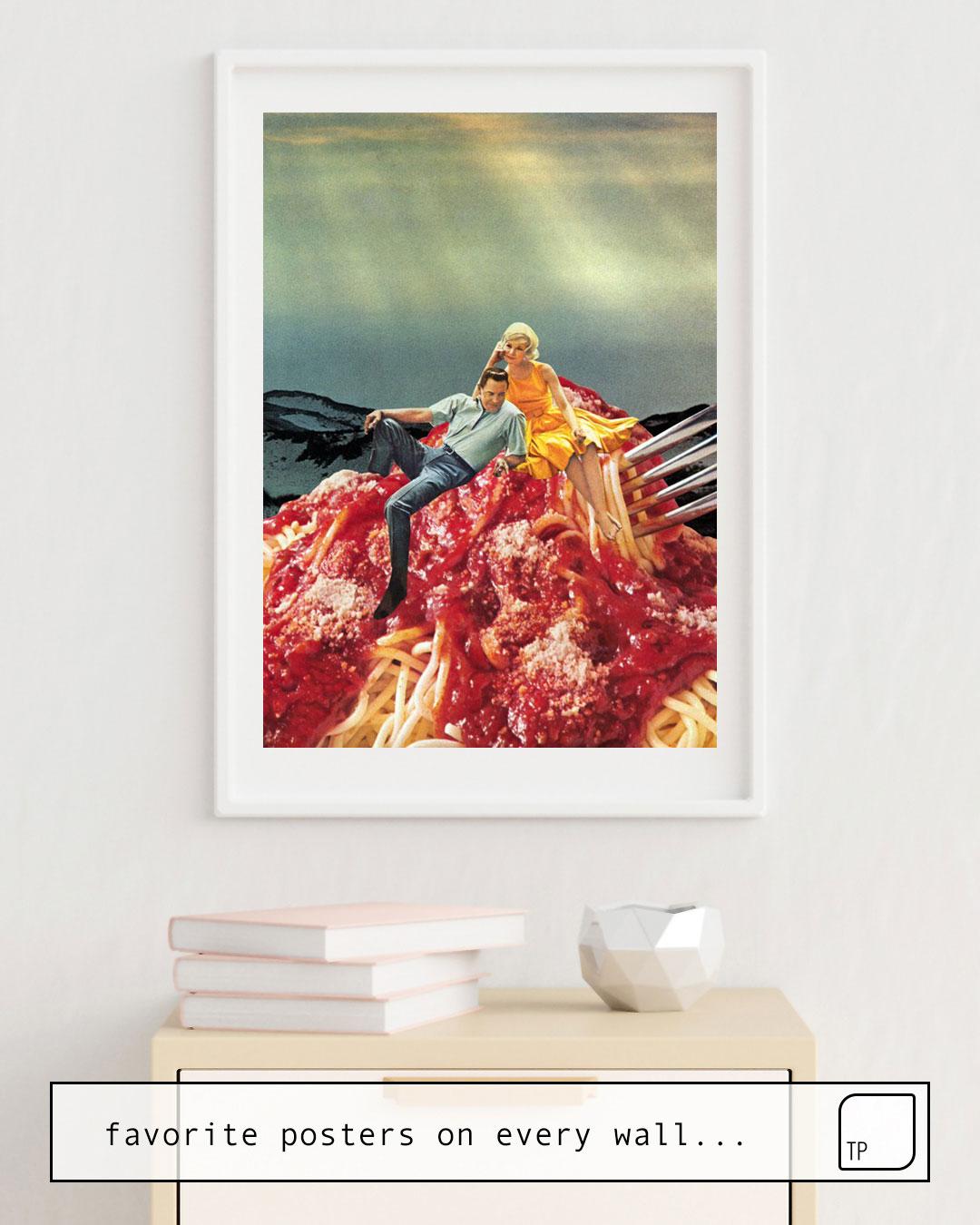 Das Bild zeigt ein Einrichtungsbeispiel mit dem Motiv SPAGHETTI von Beth Hoeckel als Wandbild