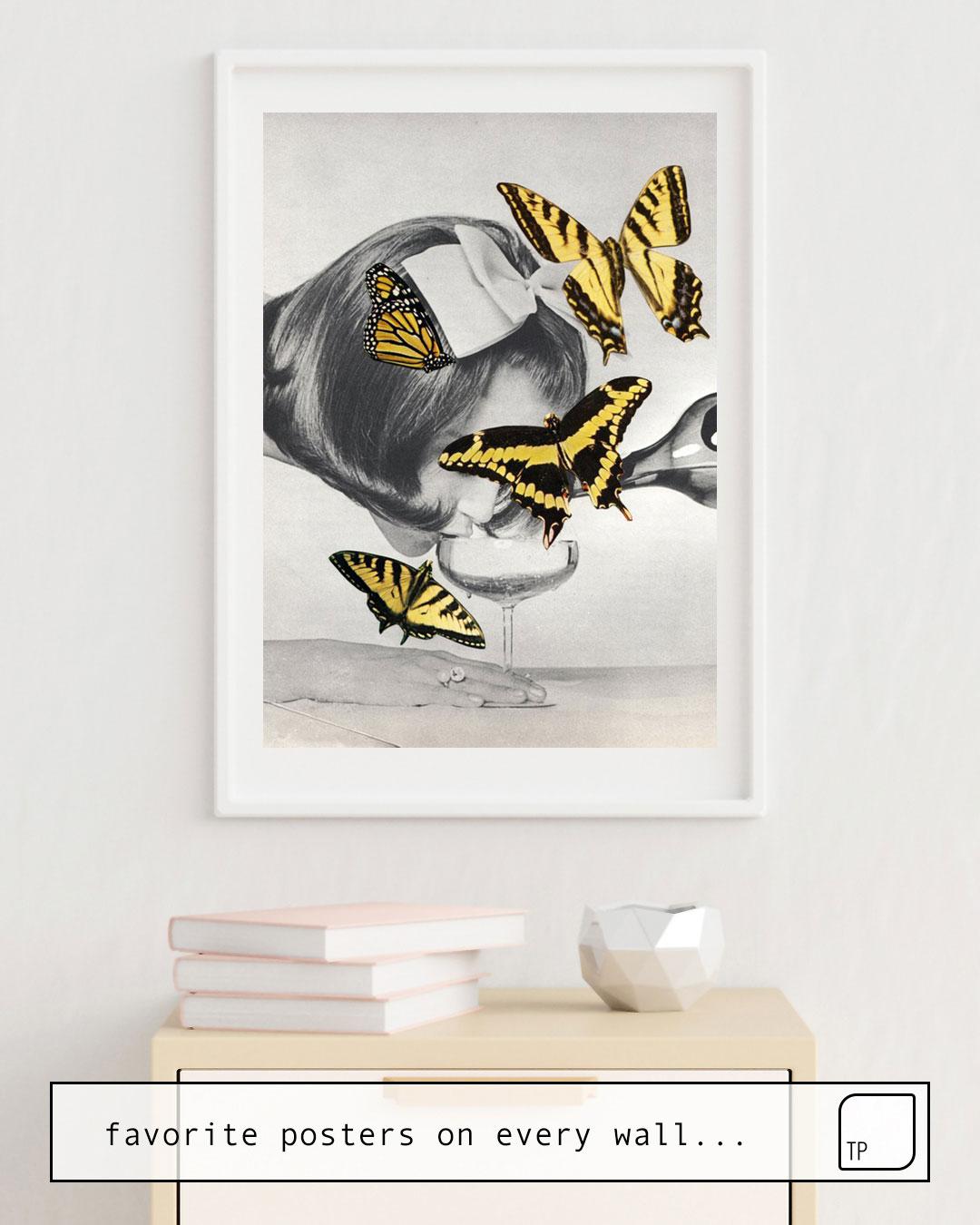 Das Bild zeigt ein Einrichtungsbeispiel mit dem Motiv TIPSY von Beth Hoeckel als Wandbild