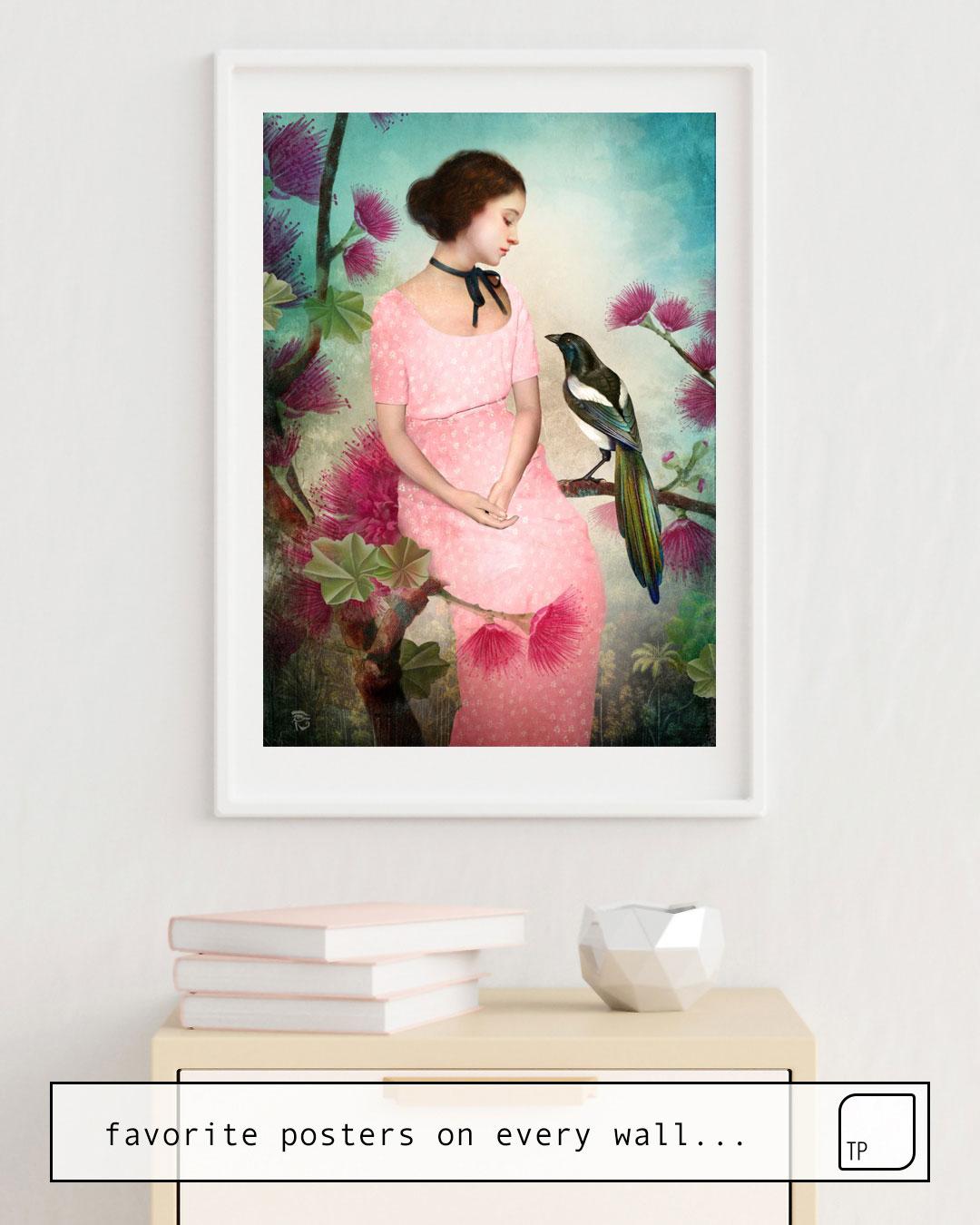 Das Bild zeigt ein Einrichtungsbeispiel mit dem Motiv A DAYDREAM von Christian Schloe als Wandbild