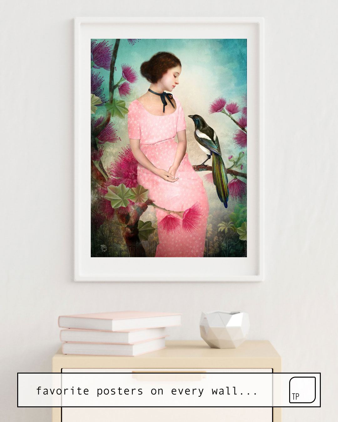 The photo shows an example of furnishing with the motif A DAYDREAM by Christian Schloe as mural
