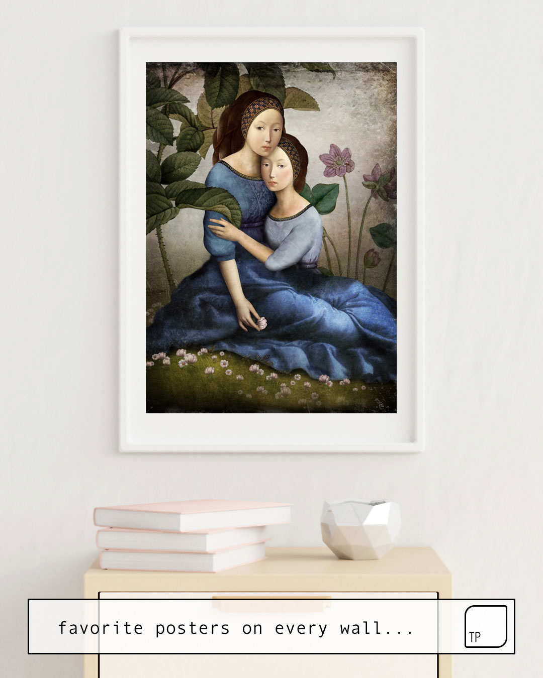 The photo shows an example of furnishing with the motif BY YOUR SIDE by Christian Schloe as mural