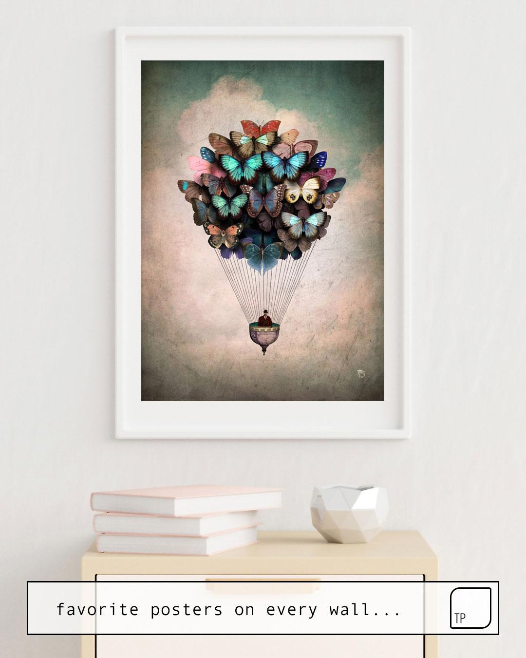 Das Bild zeigt ein Einrichtungsbeispiel mit dem Motiv DREAM ON von Christian Schloe als Wandbild