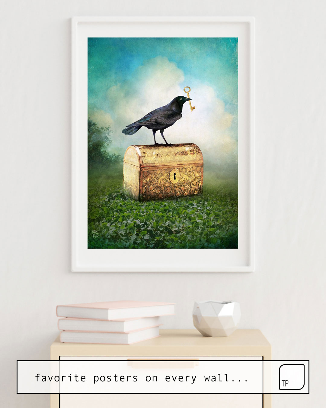 Das Bild zeigt ein Einrichtungsbeispiel mit dem Motiv FIND YOUR WAY von Christian Schloe als Wandbild