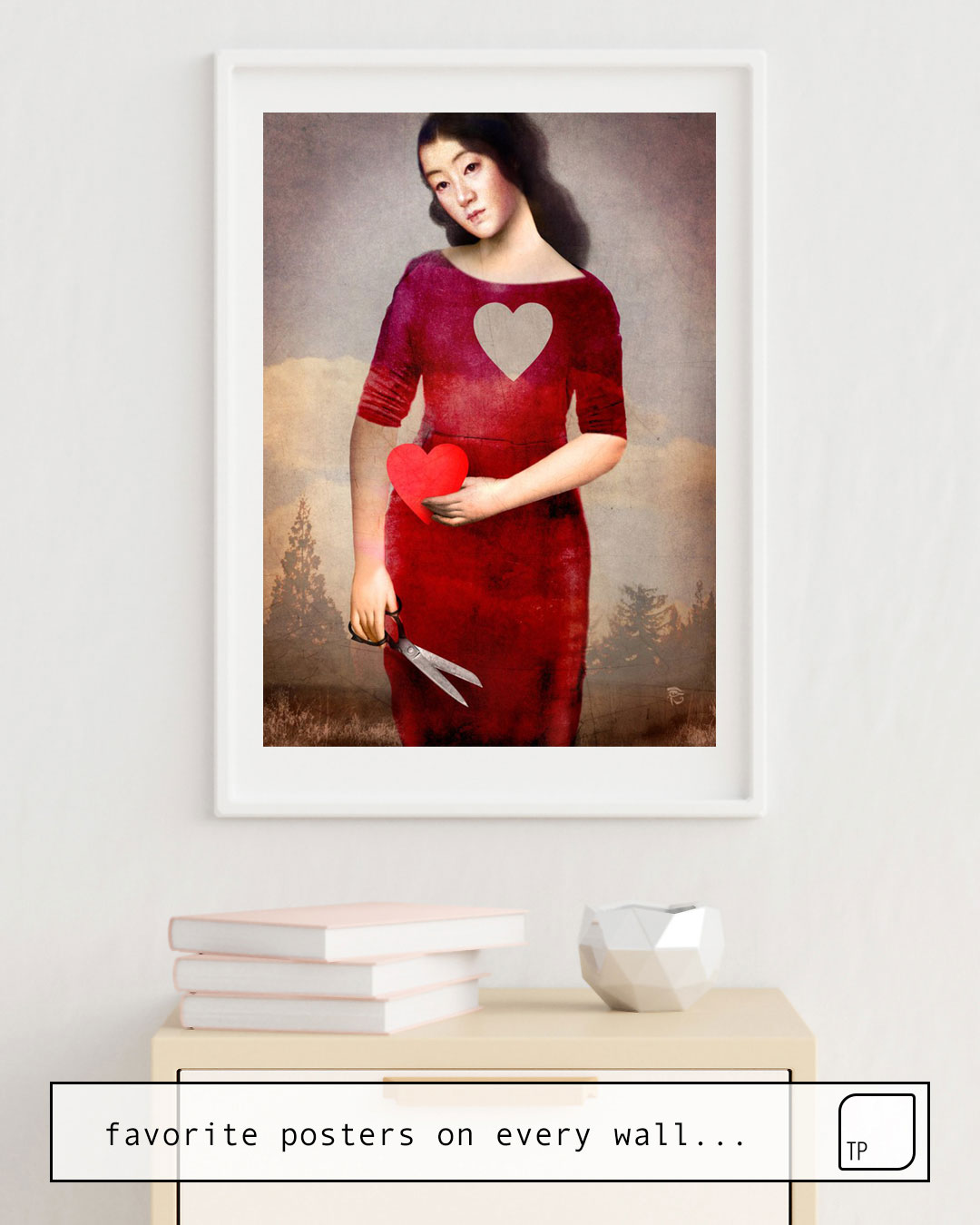 The photo shows an example of furnishing with the motif FOR YOU by Christian Schloe as mural