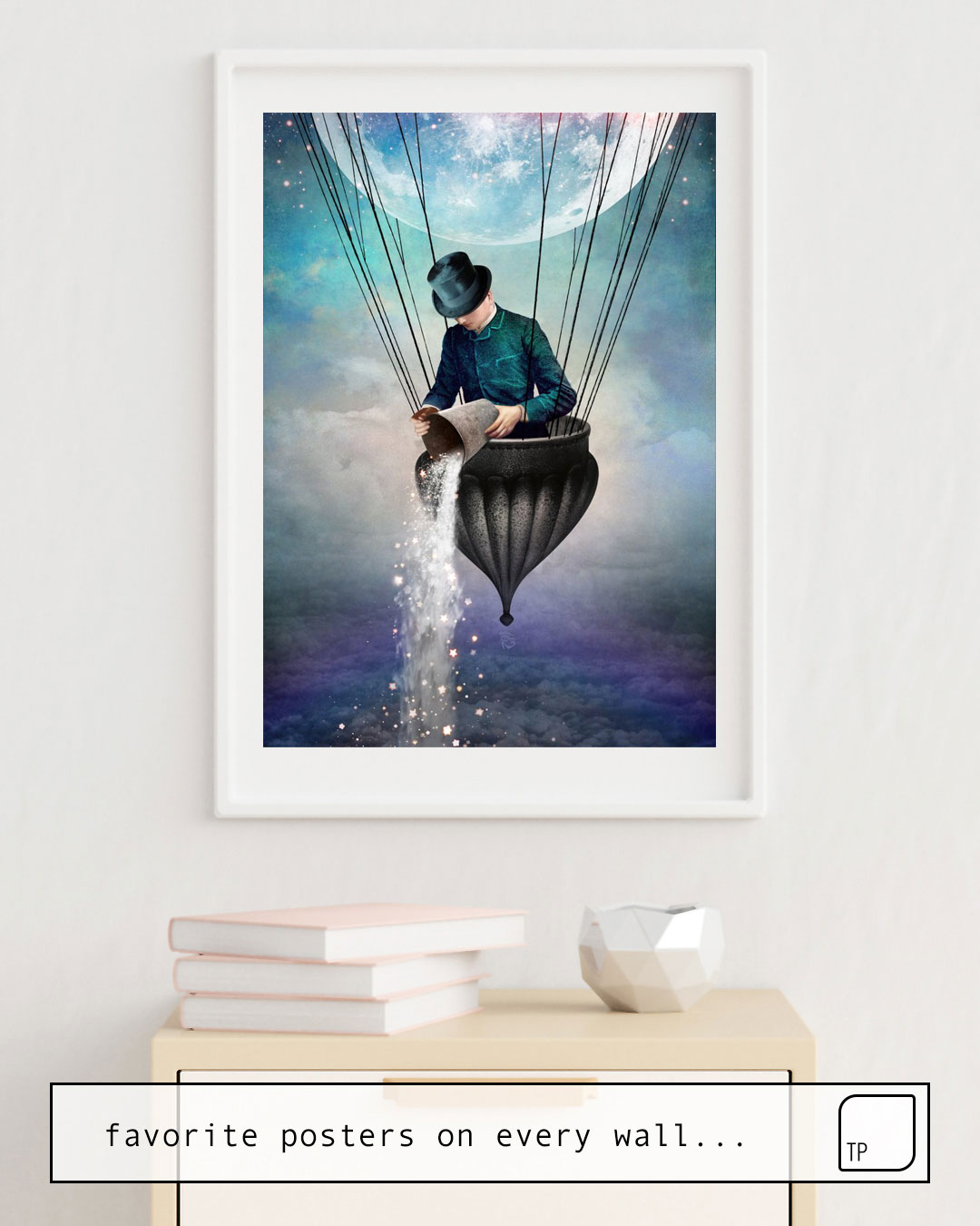 The photo shows an example of furnishing with the motif HIGH IN THE SKY by Christian Schloe as mural