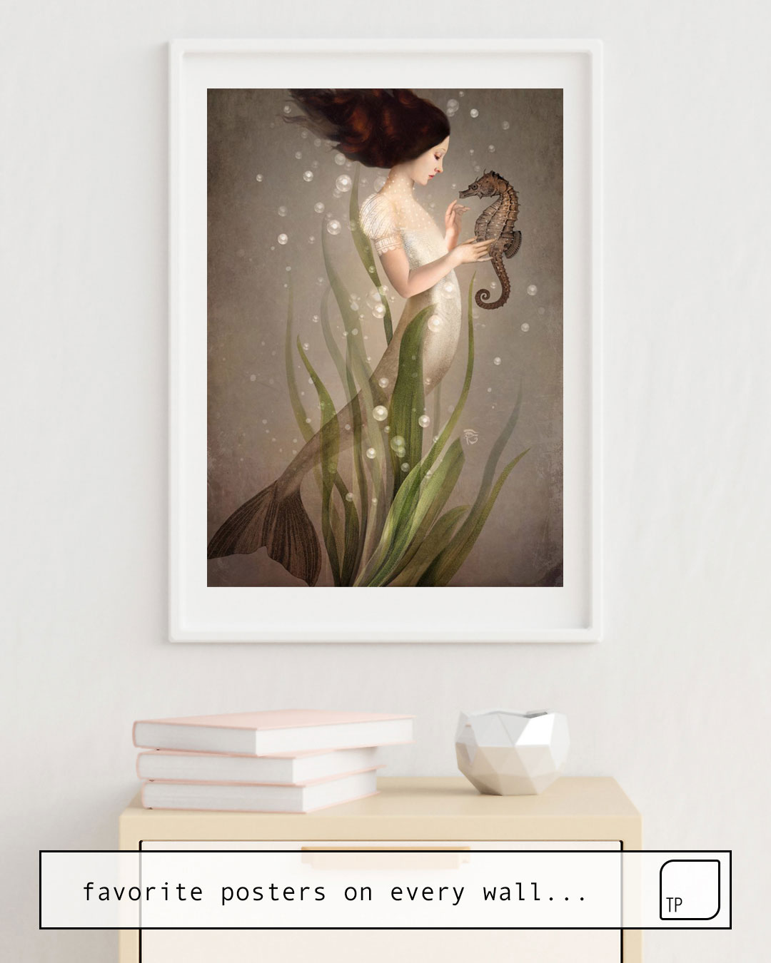 The photo shows an example of furnishing with the motif IN THE SEA by Christian Schloe as mural