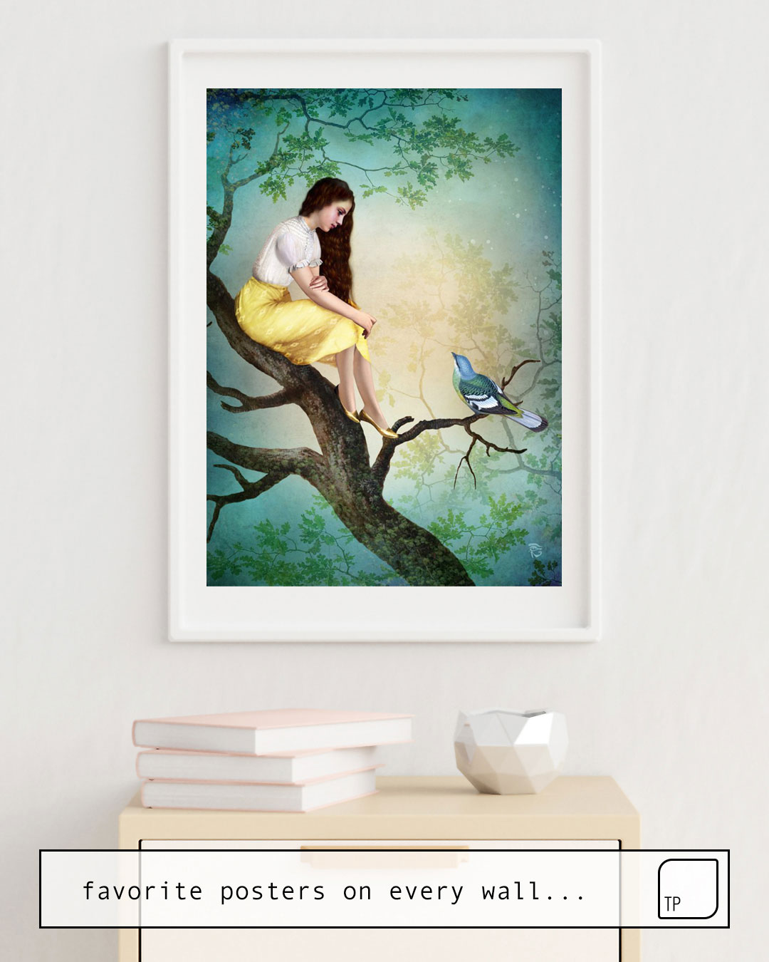The photo shows an example of furnishing with the motif IN THE TREES by Christian Schloe as mural
