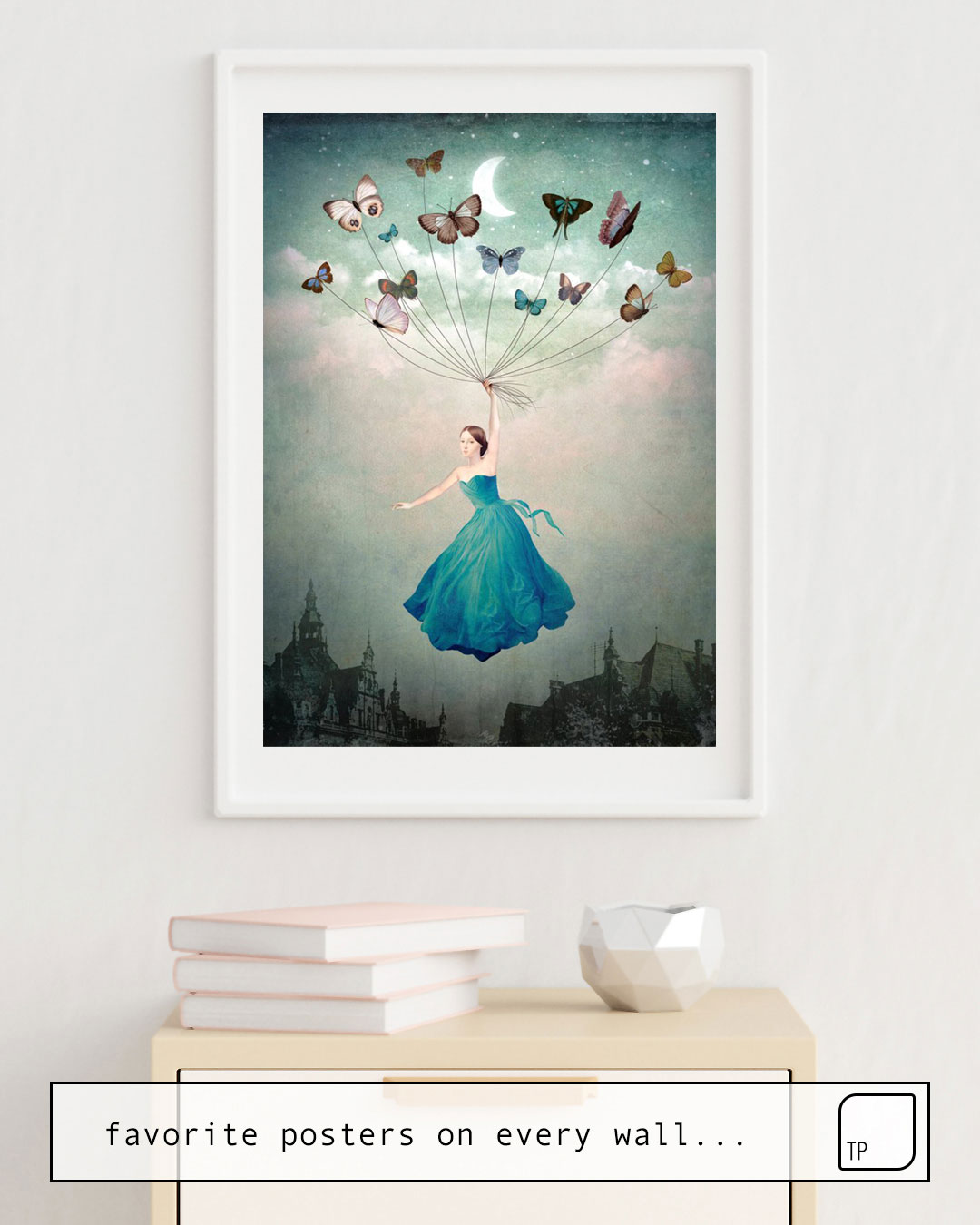 The photo shows an example of furnishing with the motif LEAVING WONDERLAND by Christian Schloe as mural