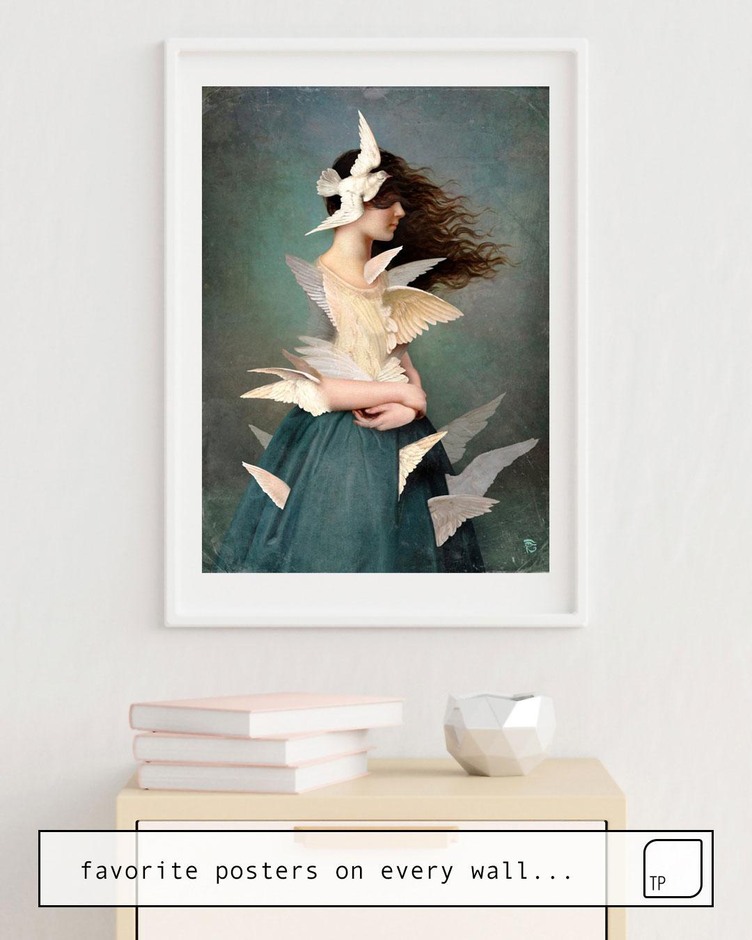 Das Bild zeigt ein Einrichtungsbeispiel mit dem Motiv METAMORPHOSIS von Christian Schloe als Wandbild