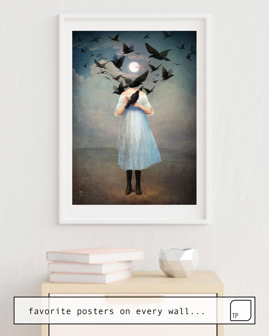 Das Bild zeigt ein Einrichtungsbeispiel mit dem Motiv MOONLIGHT von Christian Schloe als Wandbild