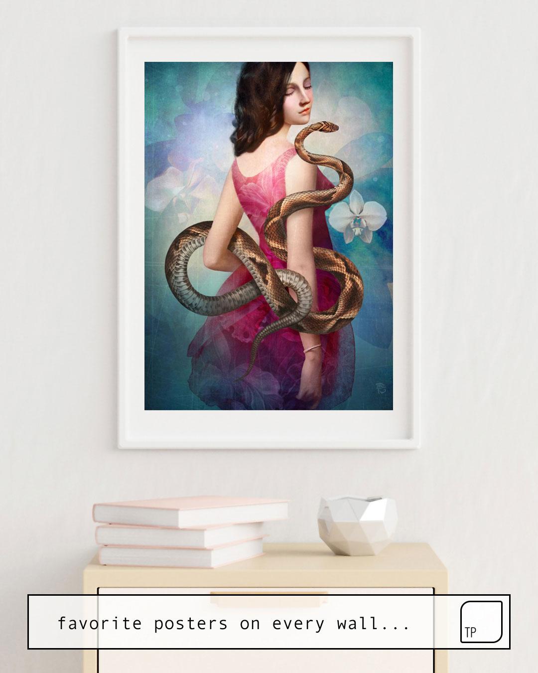 Das Bild zeigt ein Einrichtungsbeispiel mit dem Motiv ORCHID von Christian Schloe als Wandbild