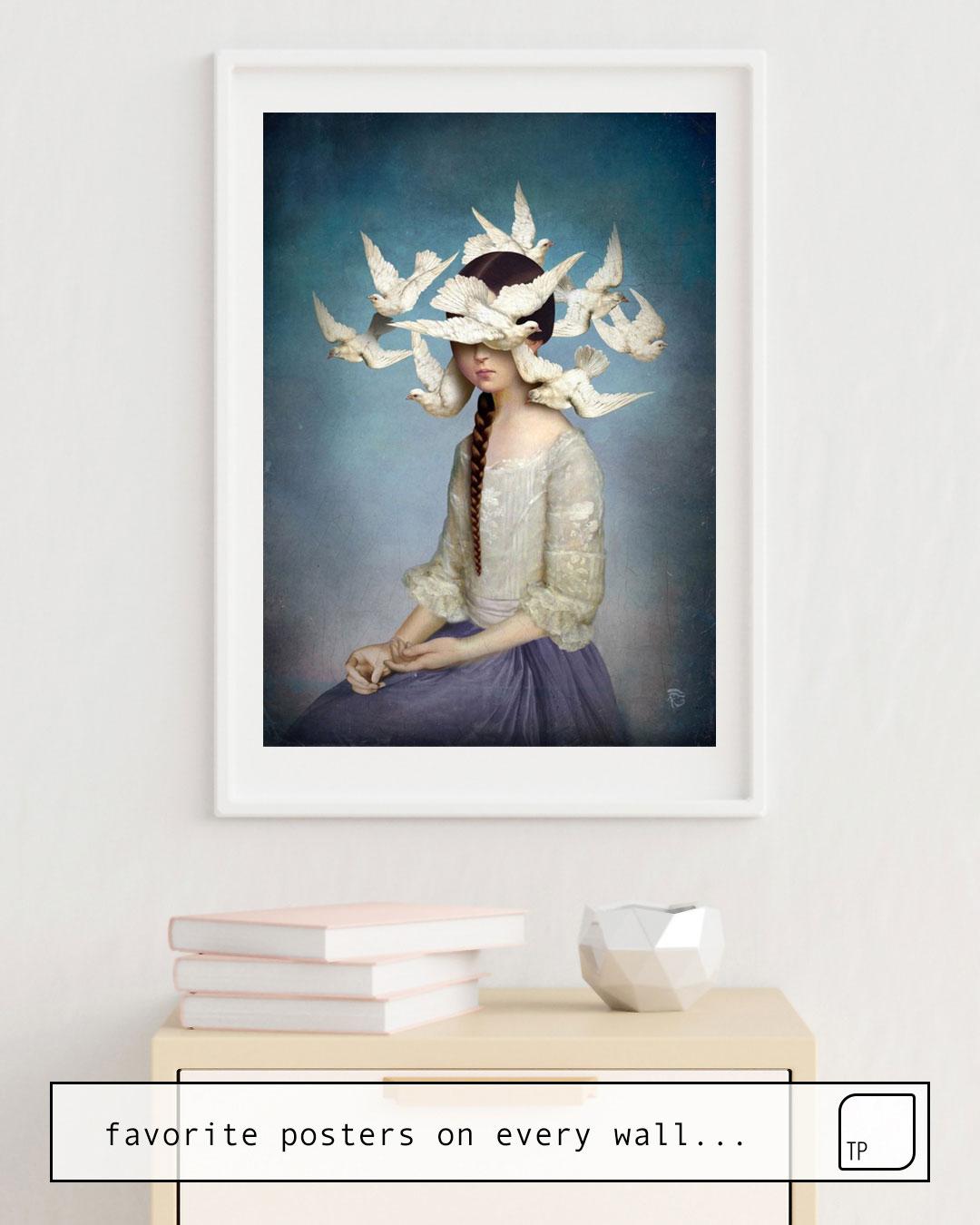 Das Bild zeigt ein Einrichtungsbeispiel mit dem Motiv THE BEGINNING von Christian Schloe als Wandbild