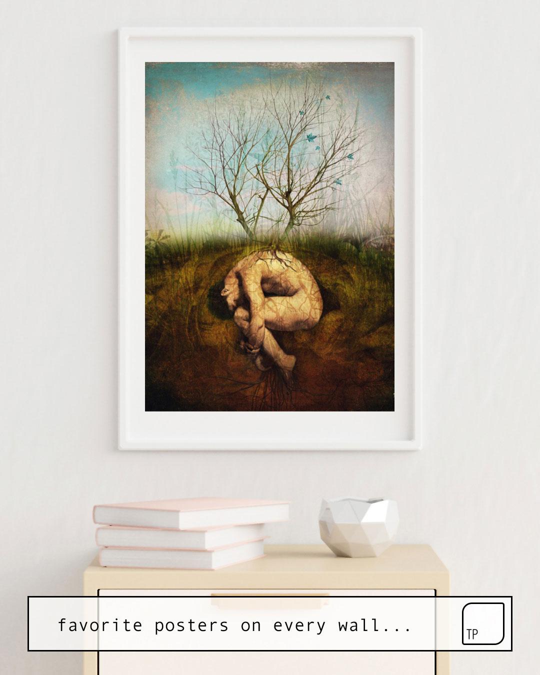 Das Bild zeigt ein Einrichtungsbeispiel mit dem Motiv THE DREAMING TREE von Christian Schloe als Wandbild
