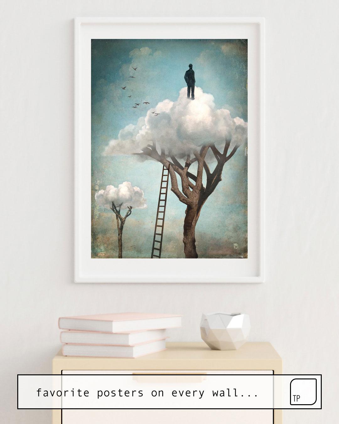 Das Bild zeigt ein Einrichtungsbeispiel mit dem Motiv THE GREAT ESCAPE von Christian Schloe als Wandbild