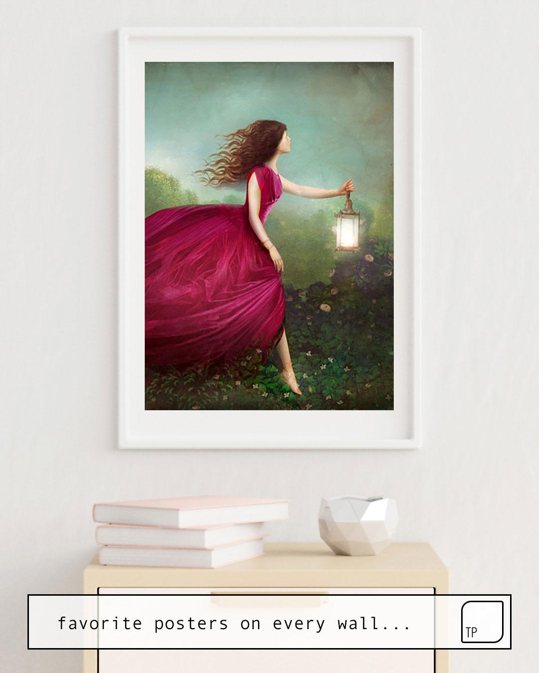 Das Bild zeigt ein Einrichtungsbeispiel mit dem Motiv THE ROSE GARDEN von Christian Schloe als Wandbild