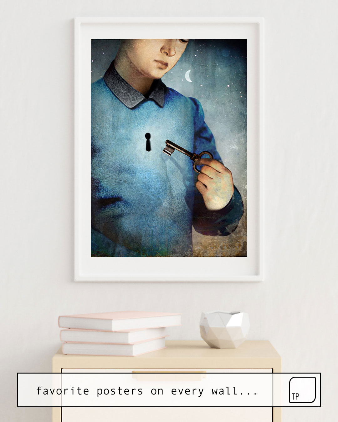 The photo shows an example of furnishing with the motif UNLOCK by Christian Schloe as mural