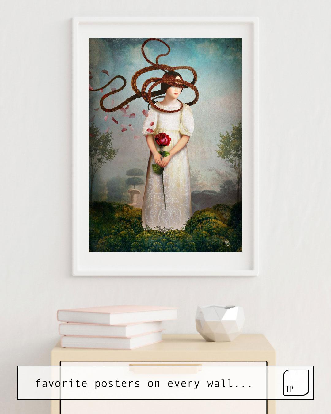 La photo montre un exemple d'ameublement avec le motif WAITING FOR YOU par Christian Schloe comme peinture murale