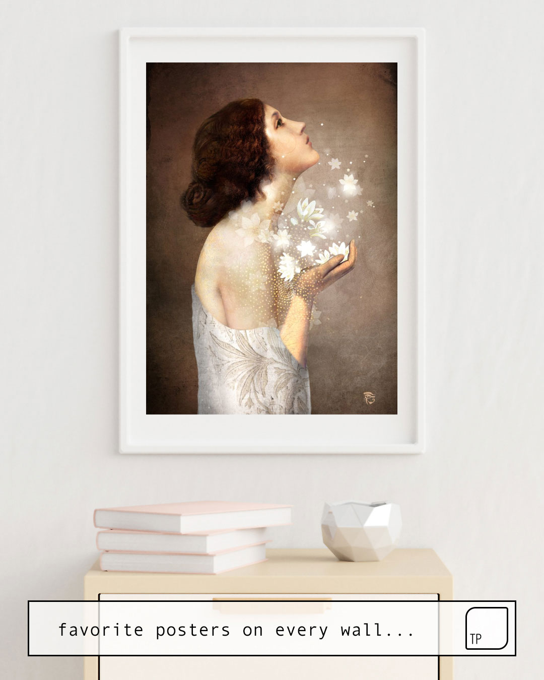 The photo shows an example of furnishing with the motif WISH by Christian Schloe as mural
