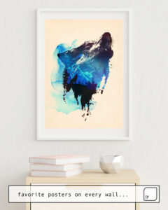The photo shows an example of furnishing with the motif ALONE AS A WOLF by Robert Farkas as mural