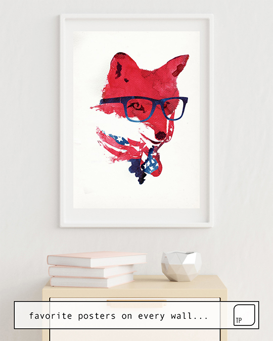 The photo shows an example of furnishing with the motif AMERICAN FOX by Robert Farkas as mural