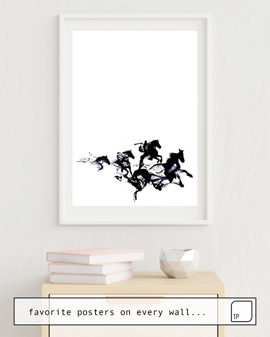 The photo shows an example of furnishing with the motif BLACK HORSES by Robert Farkas as mural