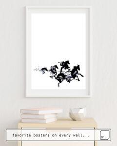 La photo montre un exemple d'ameublement avec le motif BLACK HORSES par Robert Farkas comme peinture murale