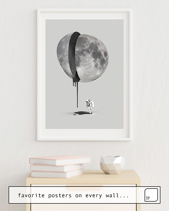 The photo shows an example of furnishing with the motif BLEEDING MOON by Robert Farkas as mural