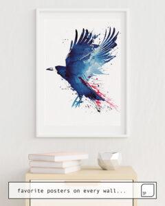 Das Bild zeigt ein Einrichtungsbeispiel mit dem Motiv BLOODY CROW von Robert Farkas als Wandbild
