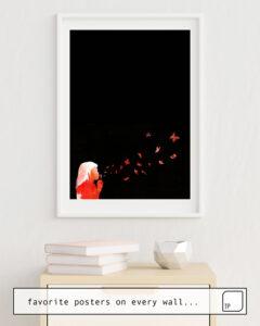 Das Bild zeigt ein Einrichtungsbeispiel mit dem Motiv BLOWING BUTTERFLIES von Robert Farkas als Wandbild