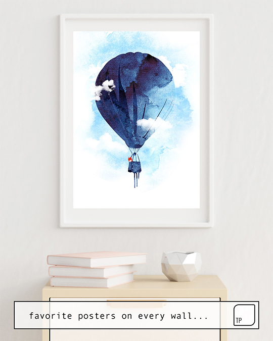 The photo shows an example of furnishing with the motif BYE BYE BALLOON by Robert Farkas as mural